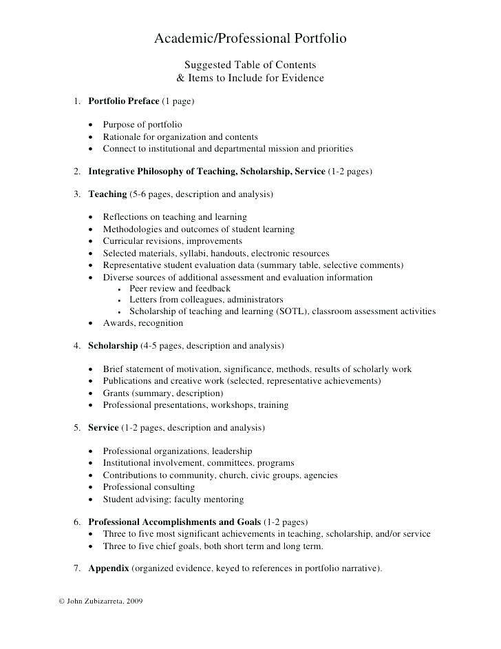 Nursing Portfolio Table Of Contents Template