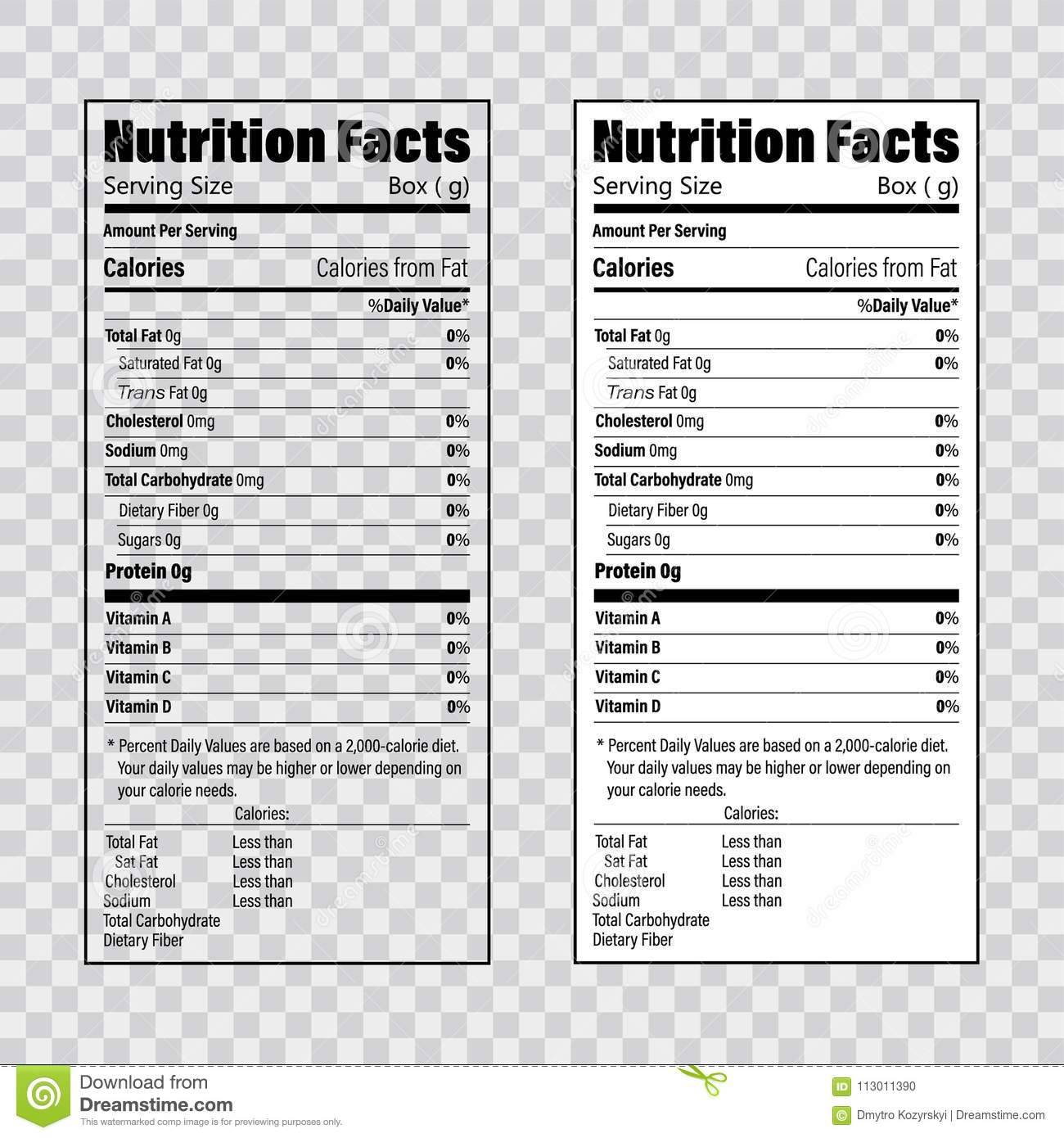 Nutrition And Ingredient Label Template
