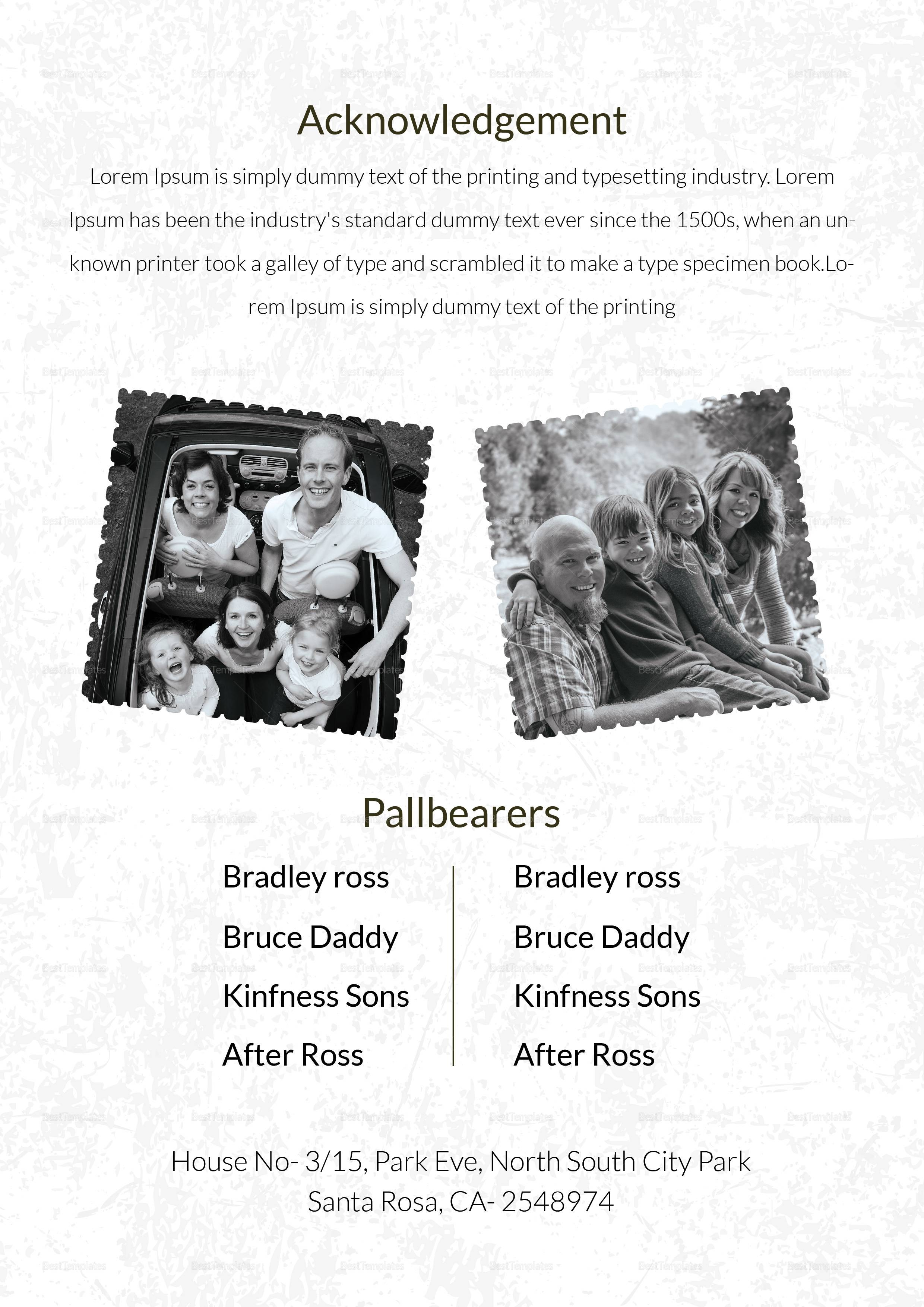 Obituary Template For Father