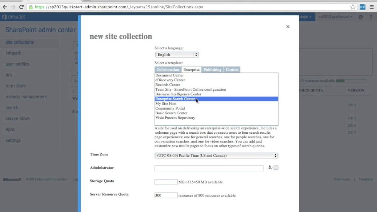 Office 365 Sharepoint Site Collection Templates