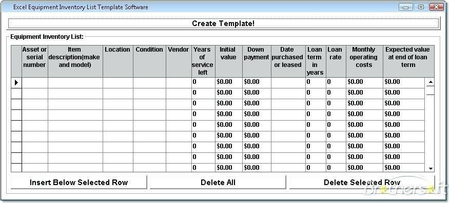 Office Equipment Inventory Template