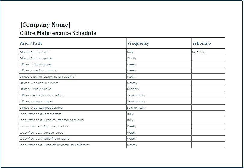 Office Equipment Maintenance Checklist Template
