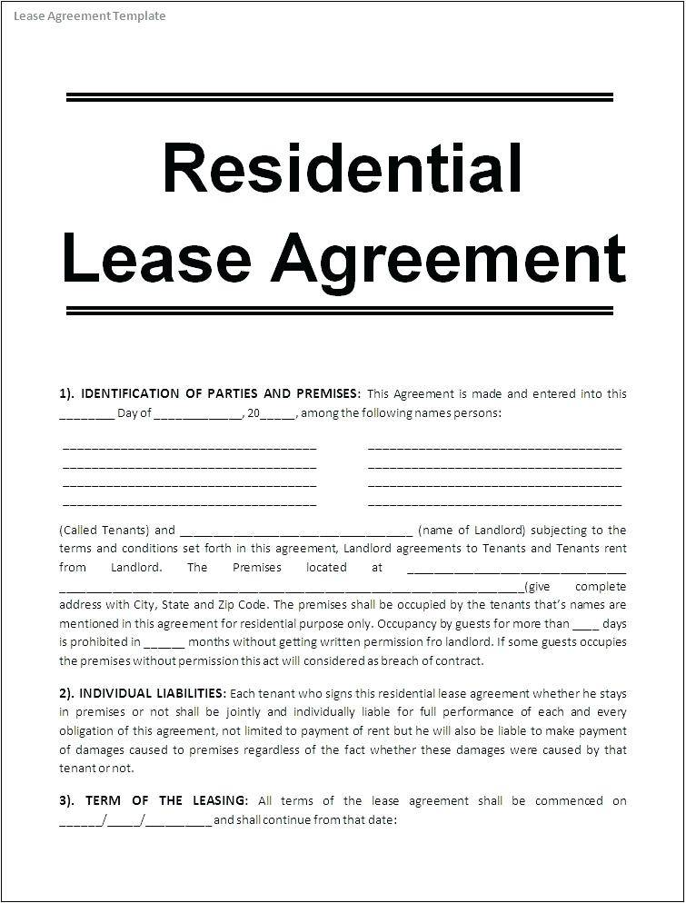 Office Lease Template Canada