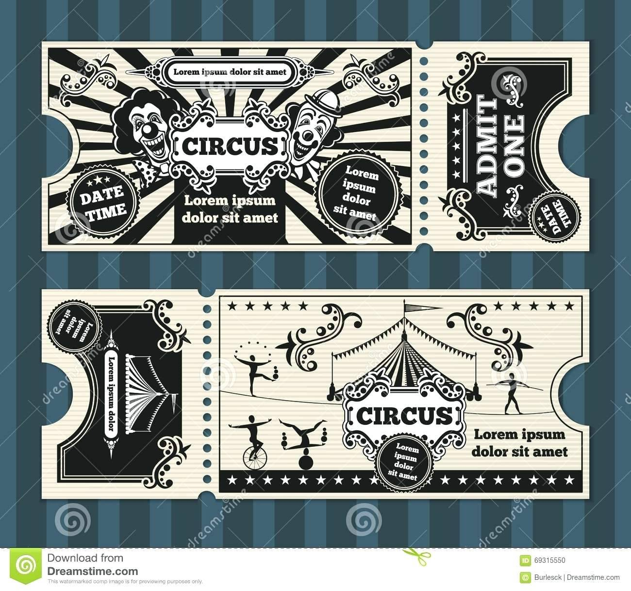 Old Circus Ticket Template