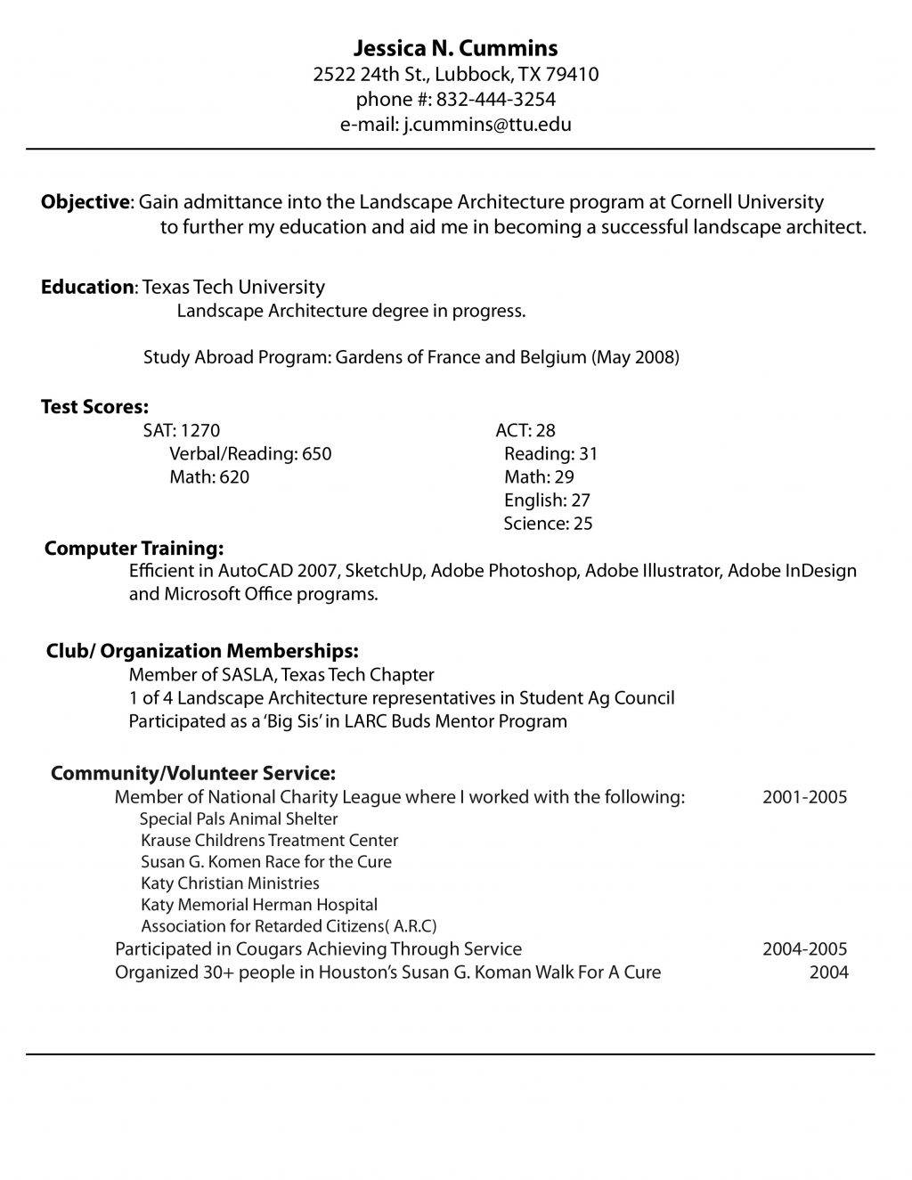 One Job Resume Templates