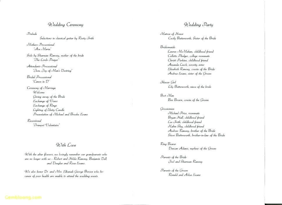 One Page Wedding Program Samples