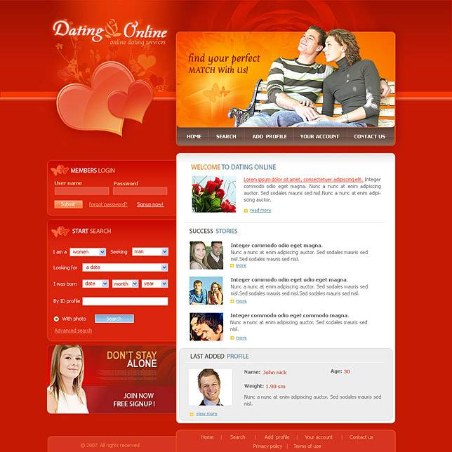 Online Dating Website Templates