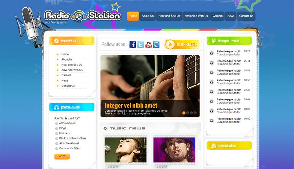 Online Radio Website Templates Free