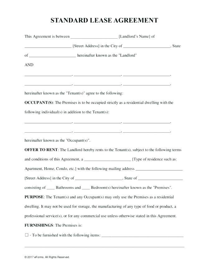 Ontario Tenant Lease Template
