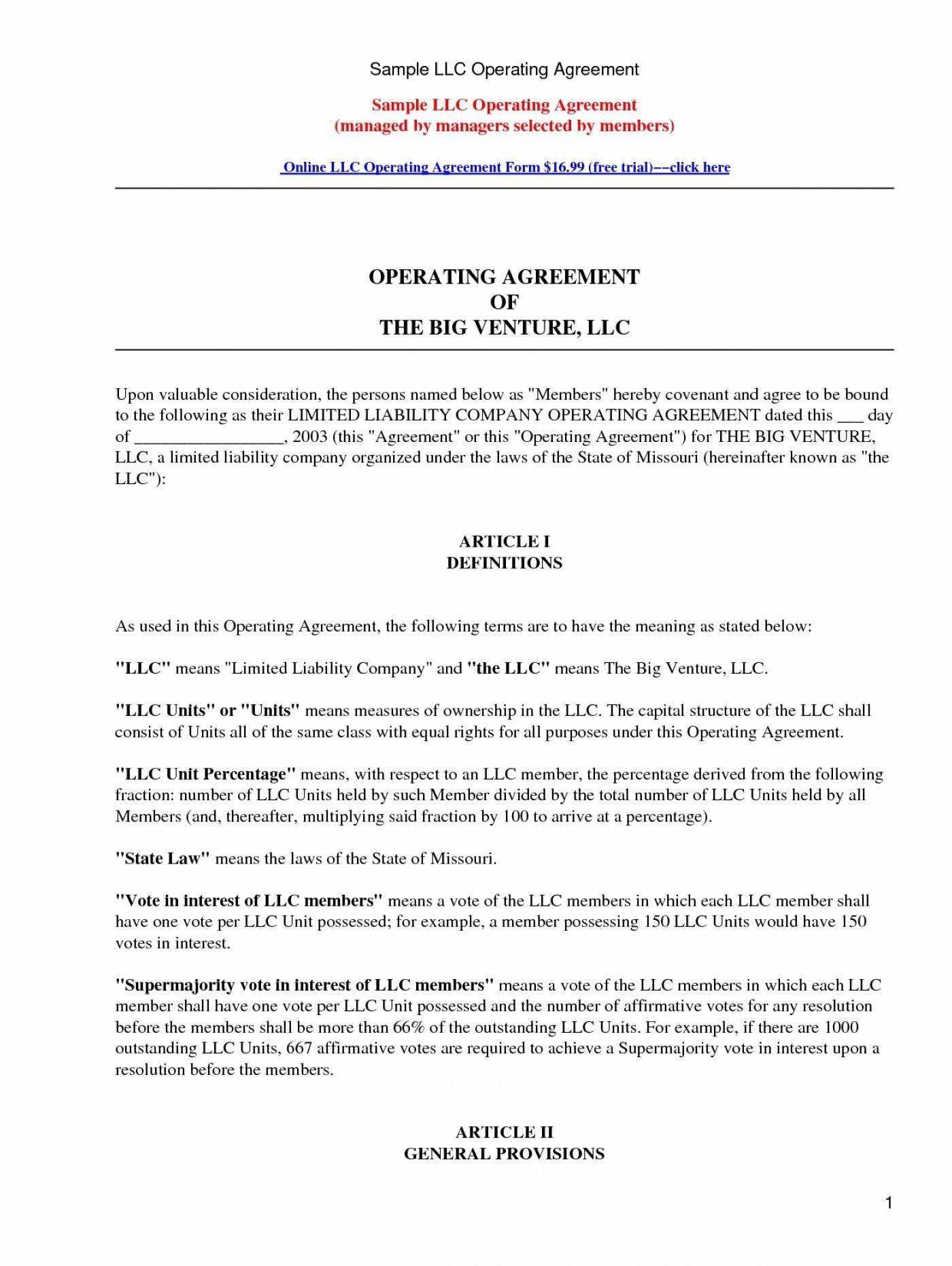Operating Agreement For Llc Template Missouri