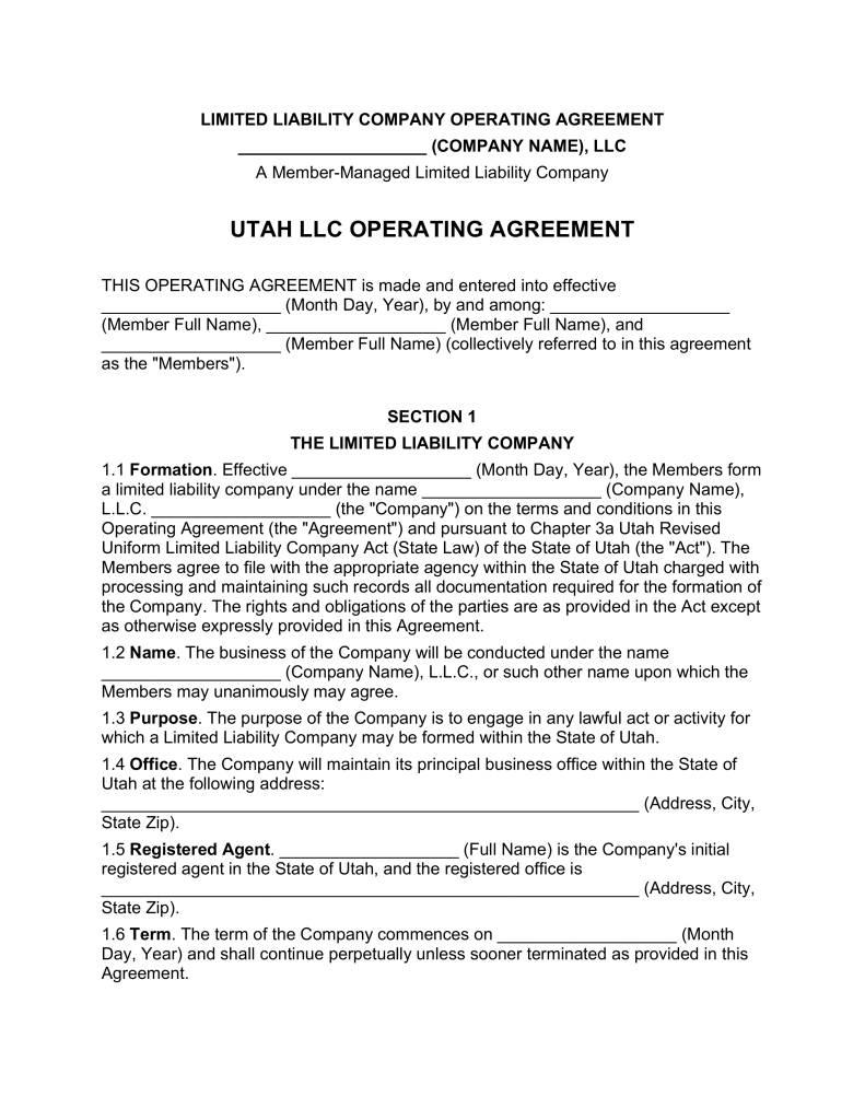Operating Agreement Llc Utah Template