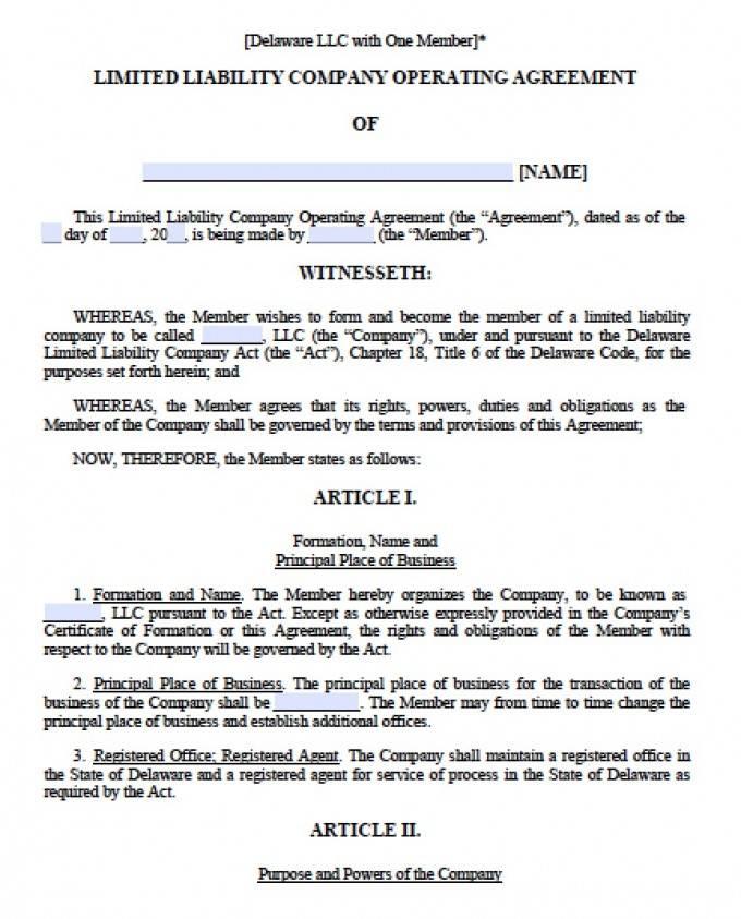 Operating Agreement Template Delaware Llc