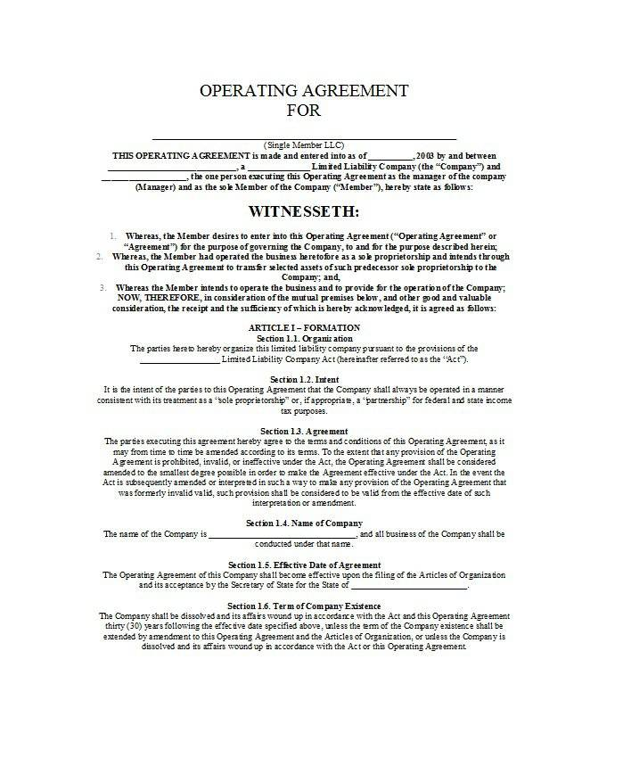 Operating Agreement Templates