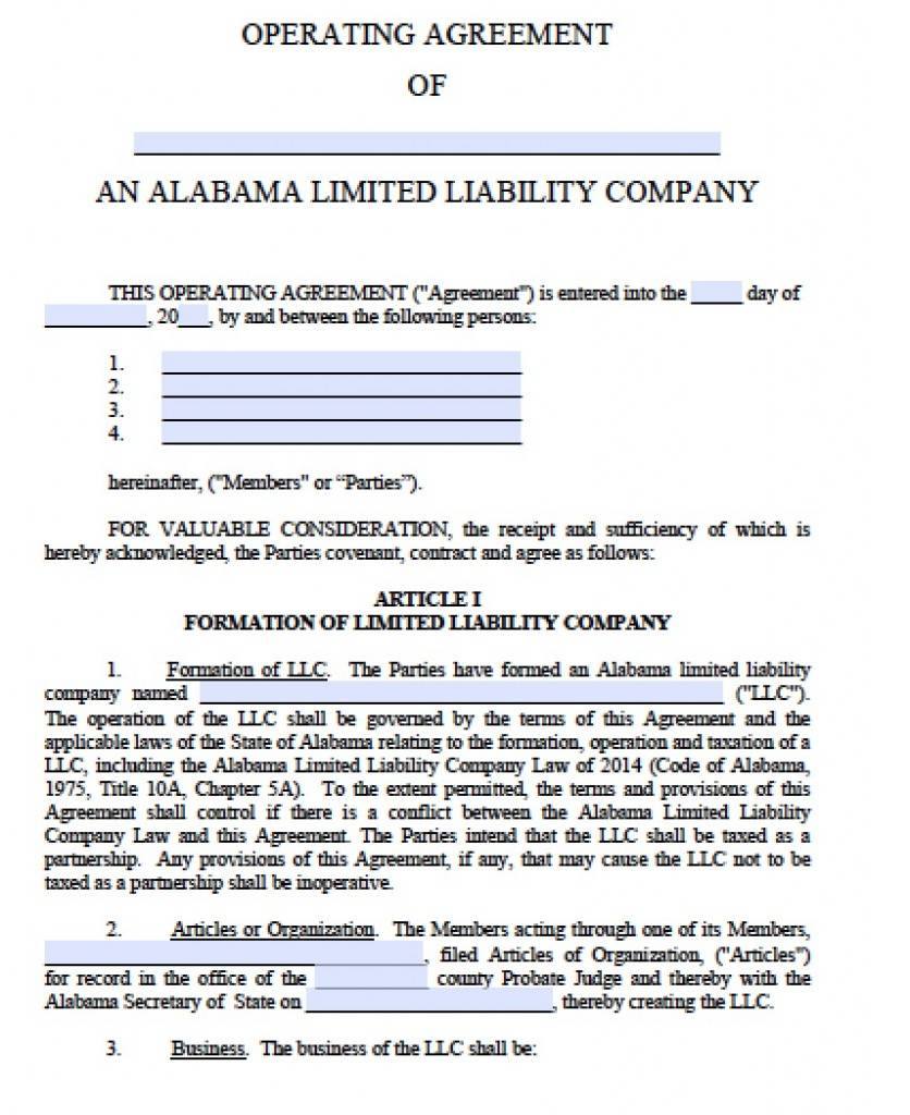 Operation Agreement Llc Template