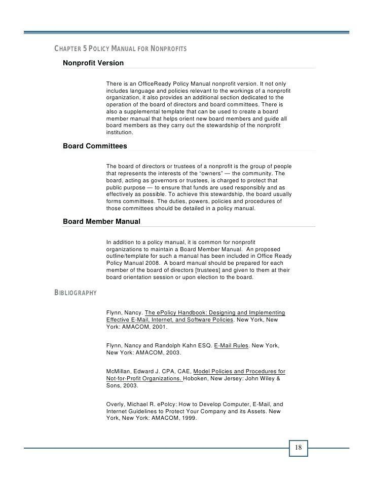 Operations Manual Template For Nonprofit