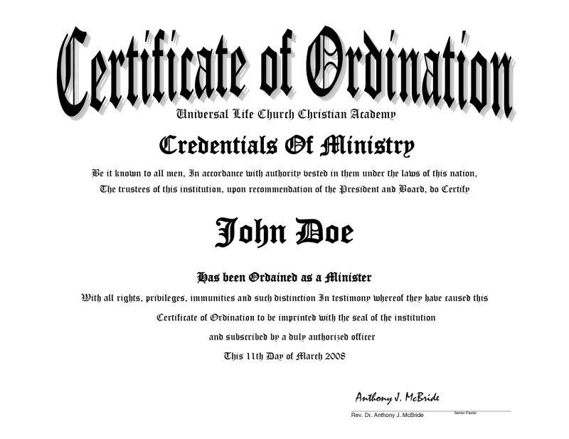 Ordination Certificate Printable