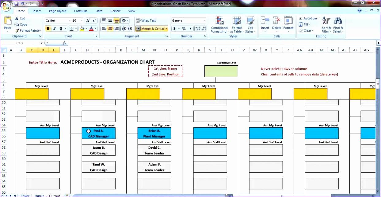 Organization Chart Template Excel Free Download