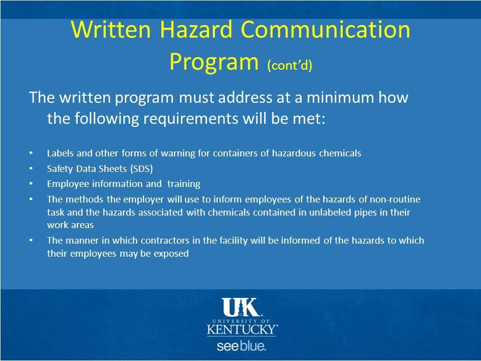 Osha Hazard Communication Program Sample