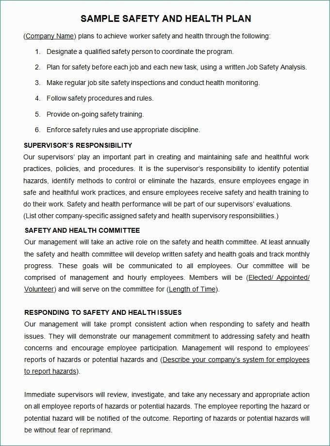 Osha Safety Plan Template Free