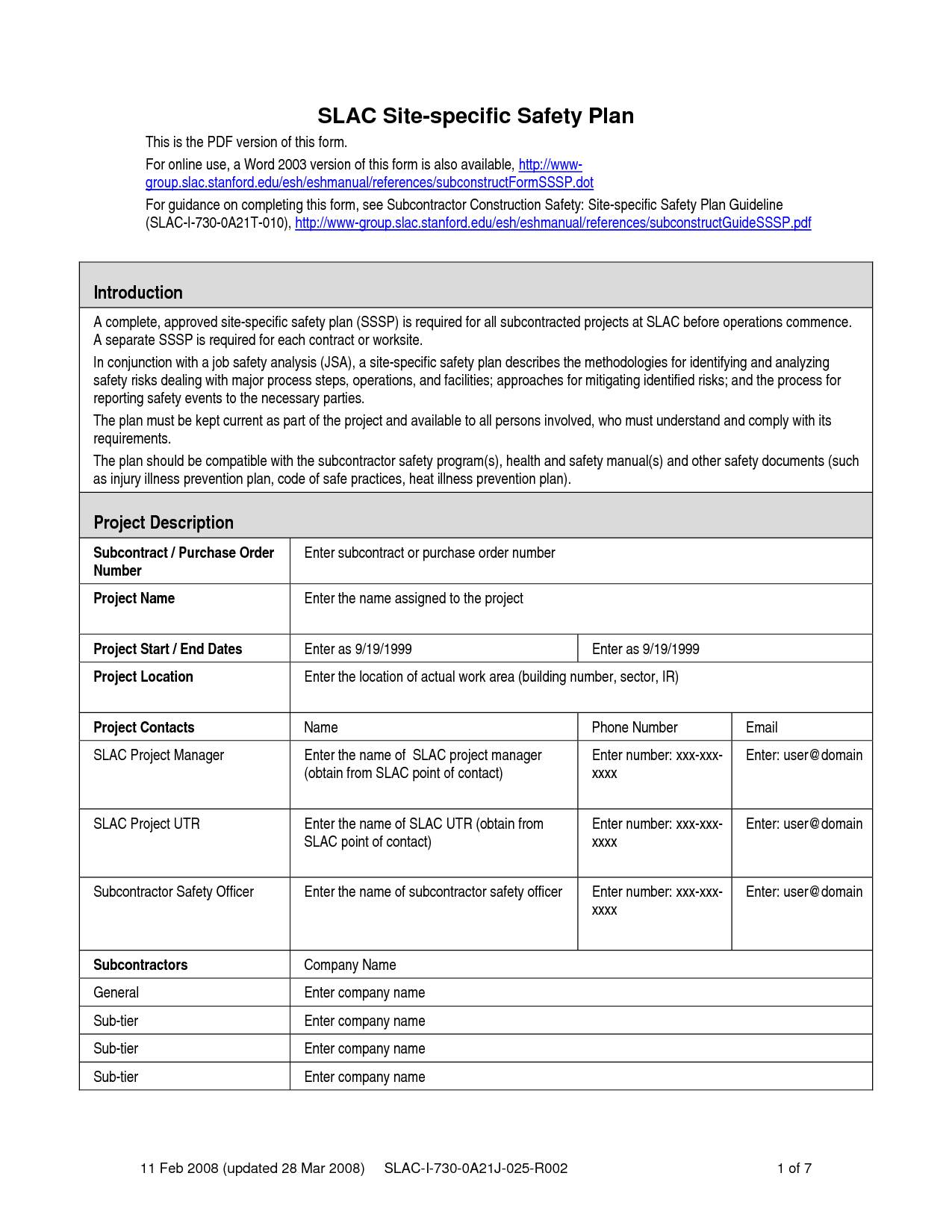 Osha Safety Plan Template