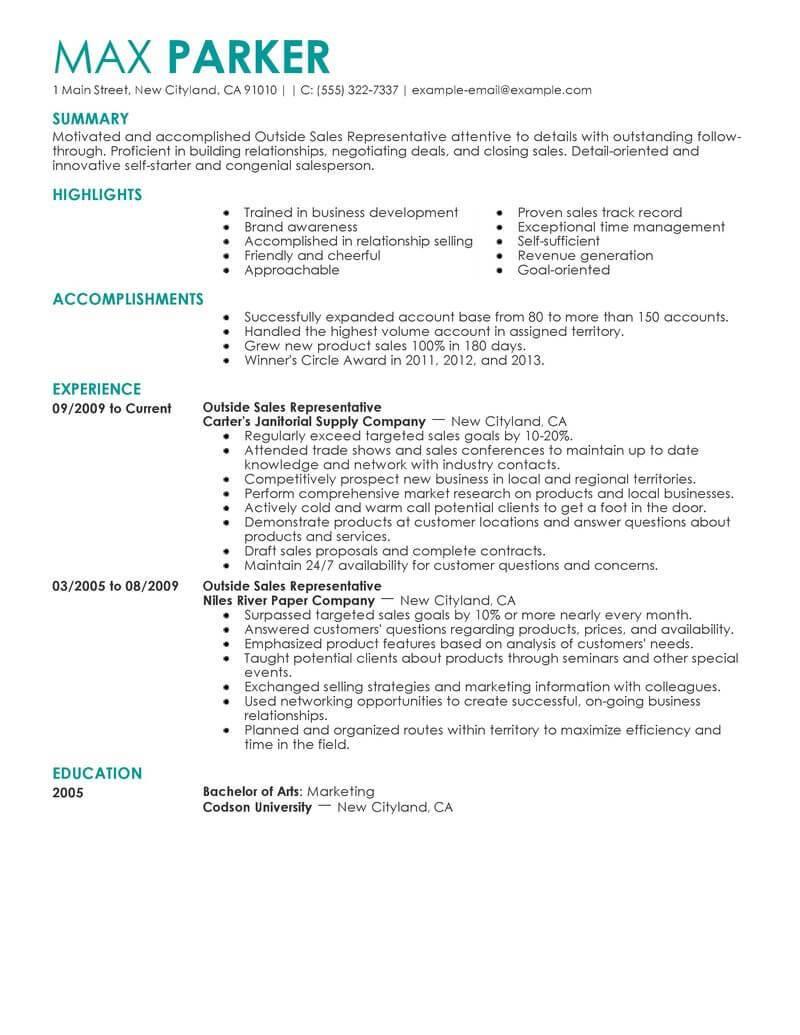 Outside Sales Representative Job Description Template