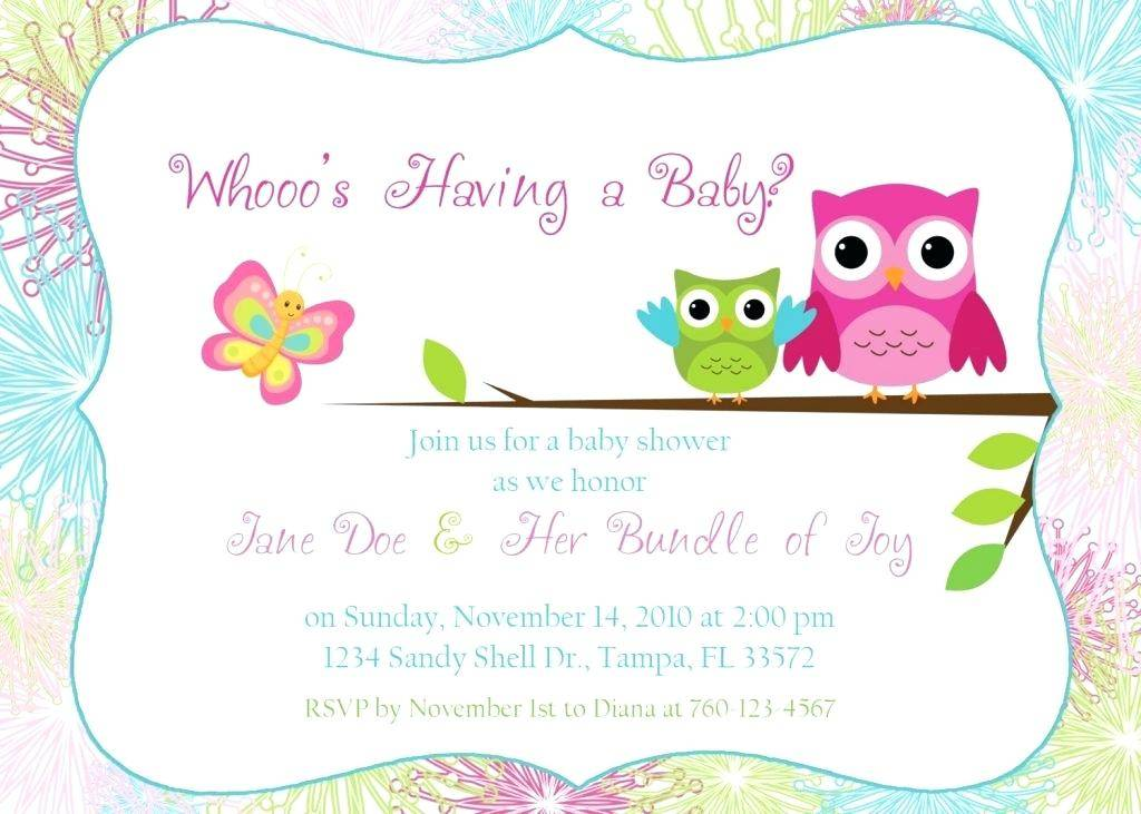 Owl Baby Shower Invitation Template Free