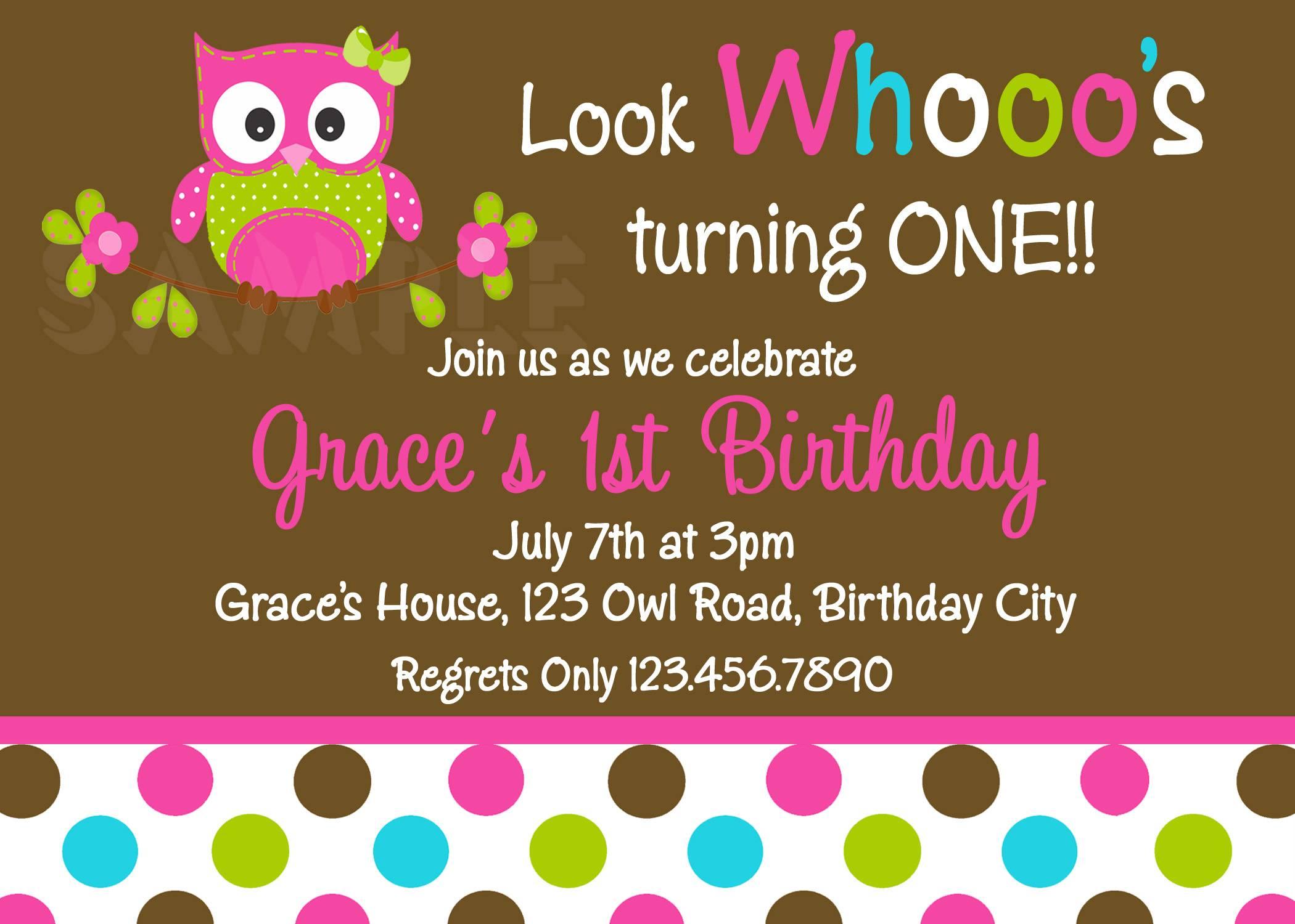 Owl Birthday Invitation Template Free