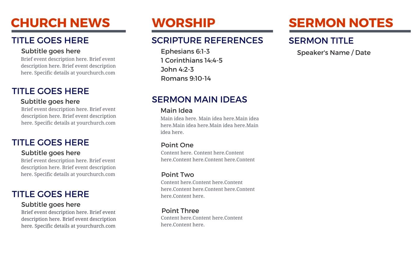 Pages Template For Church Bulletin