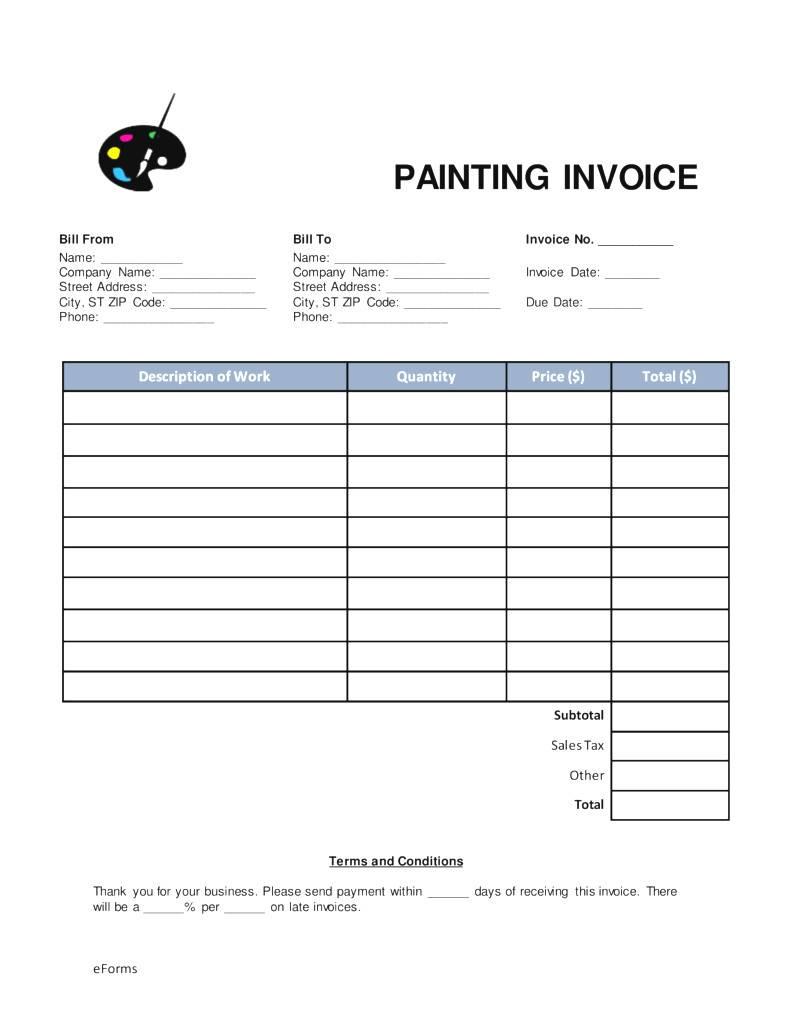 Painter Invoice Template
