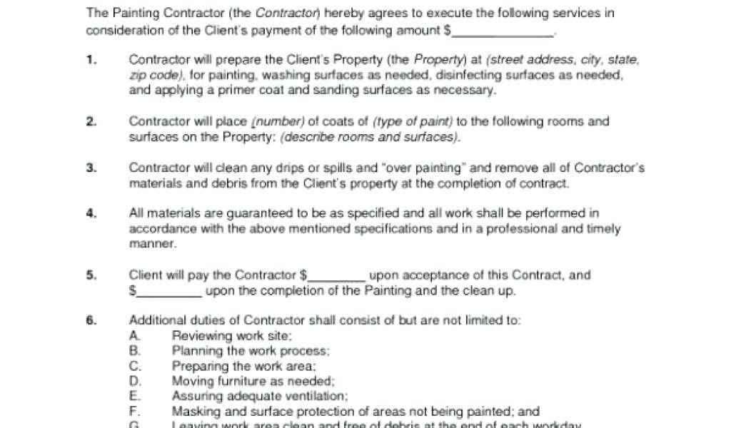 Painting Contract Template Free Download