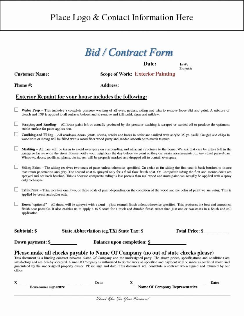 Painting Contract Template Free