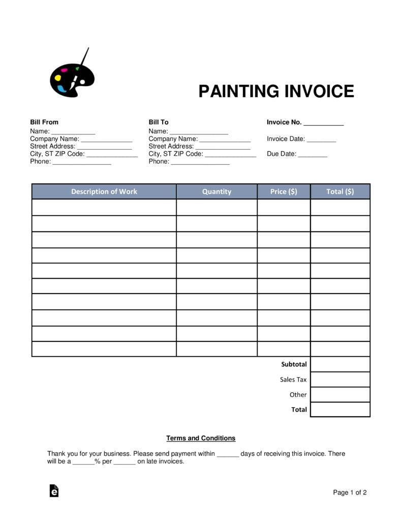 Painting Invoice Forms
