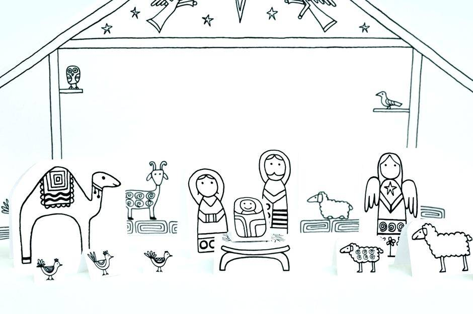 Paper Nativity Scene Template