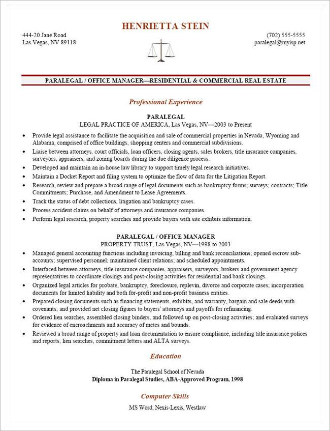 Paralegal Resume Templates