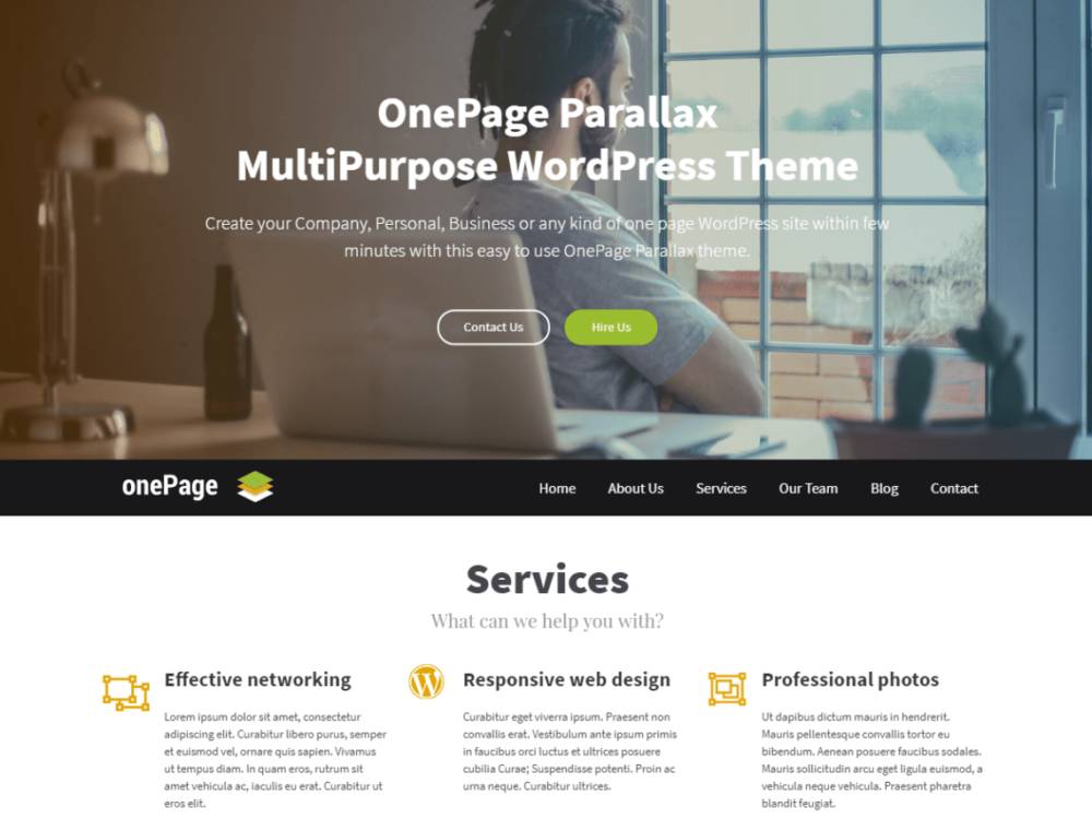 Parallax WordPress Theme Download