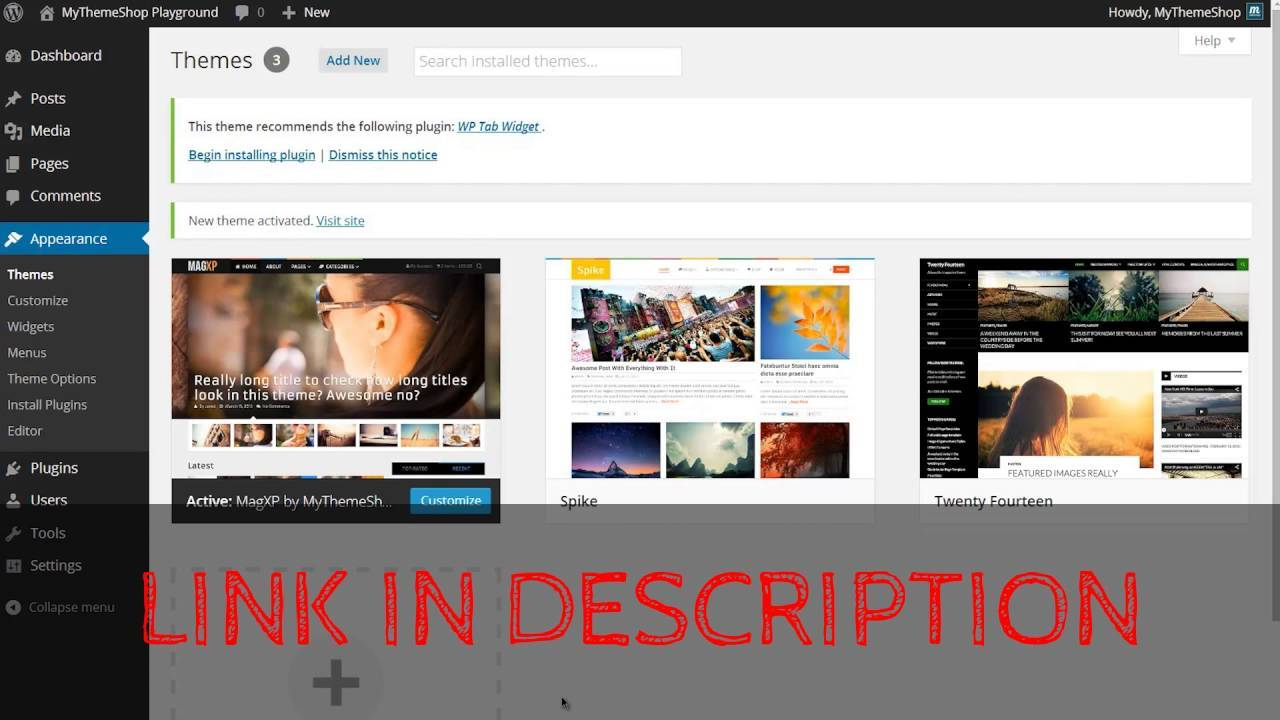 Parallax WordPress Theme Youtube