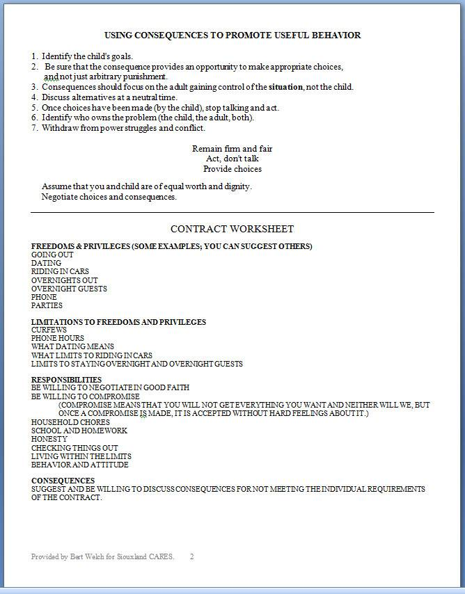 Parent Child Contract Templates Free Download
