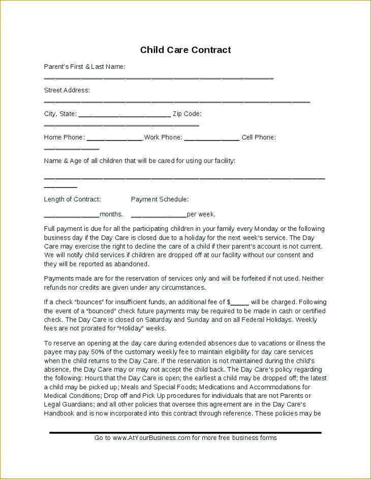 Parent Child Contract Templates