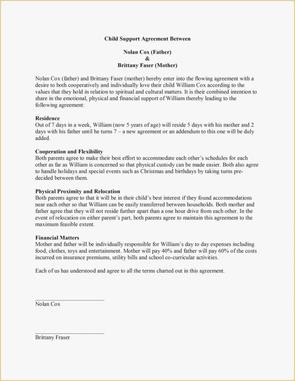 Parenting Agreement Template Bc