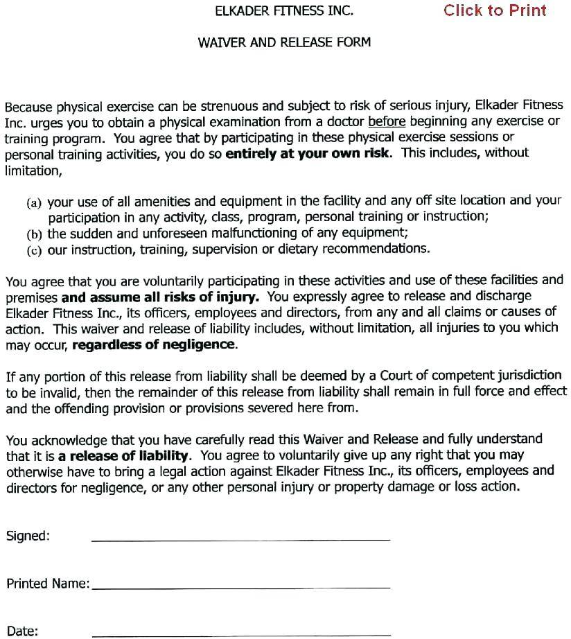 Participation Waiver Form Template Uk