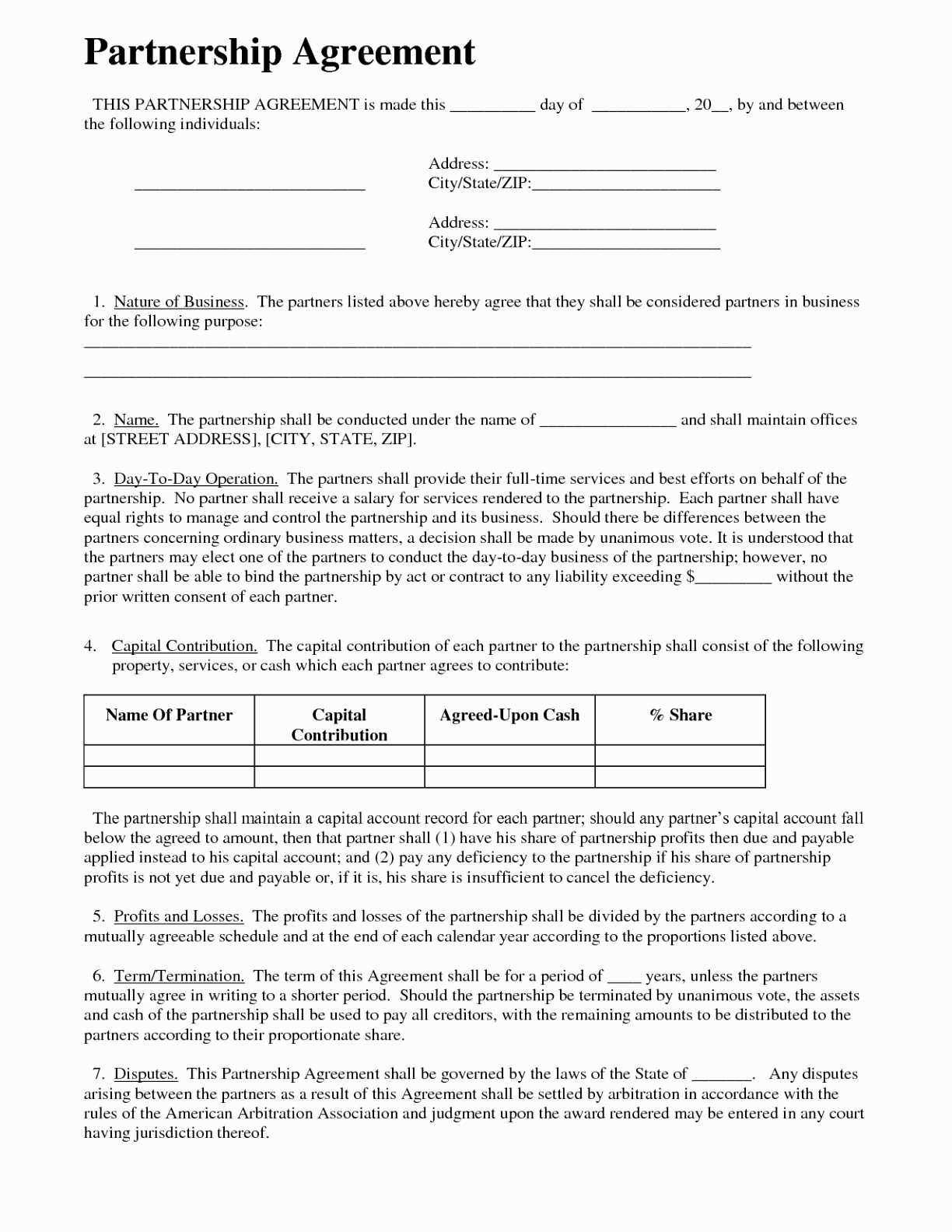 Partner Agreement Template Free