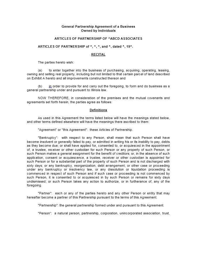 Partner Agreement Template