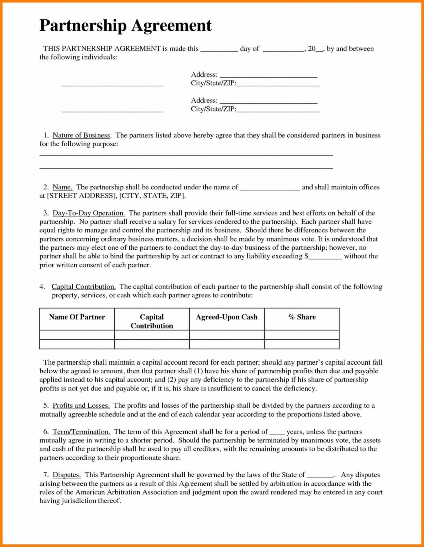Partnership Agreement Template California