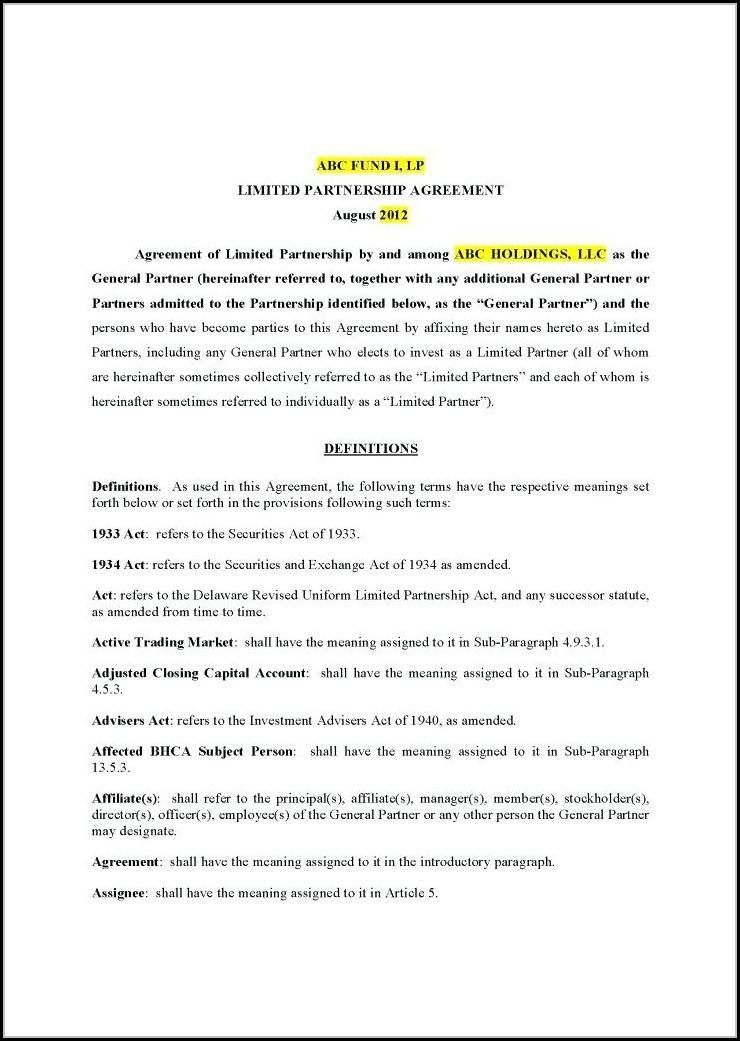 Partnership Agreement Template Nz
