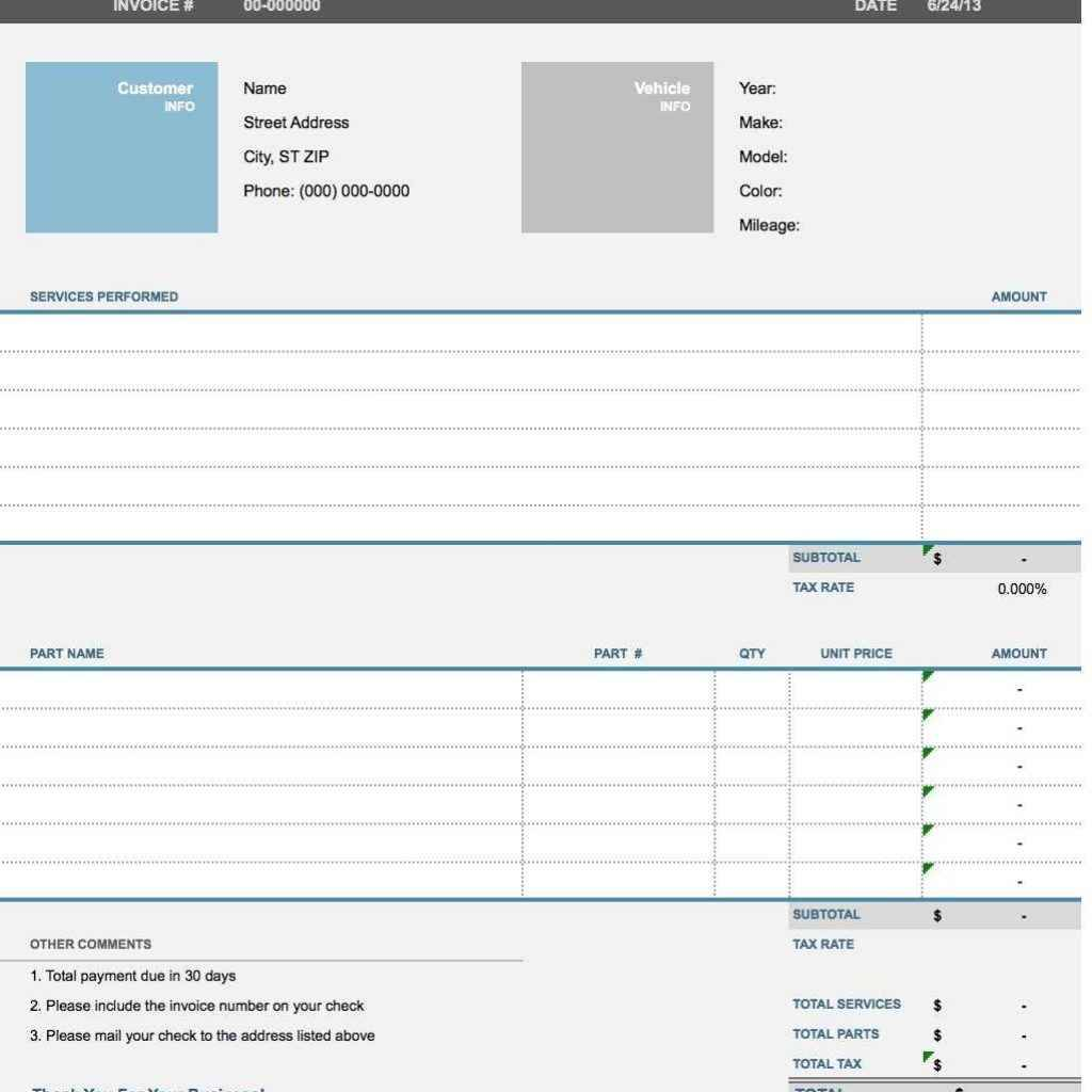 Parts And Labour Invoice Template Free