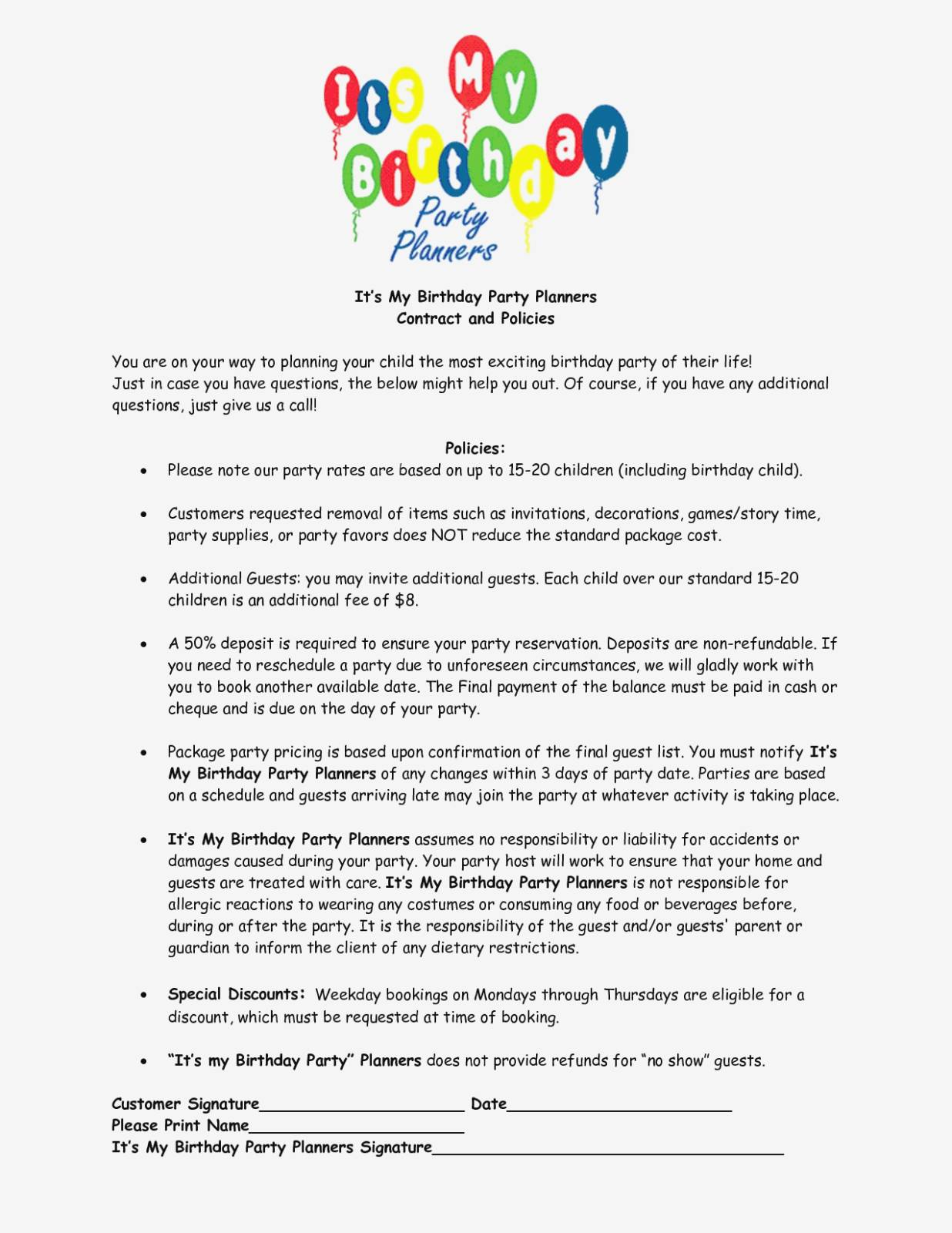 Party Planner Agreement Template