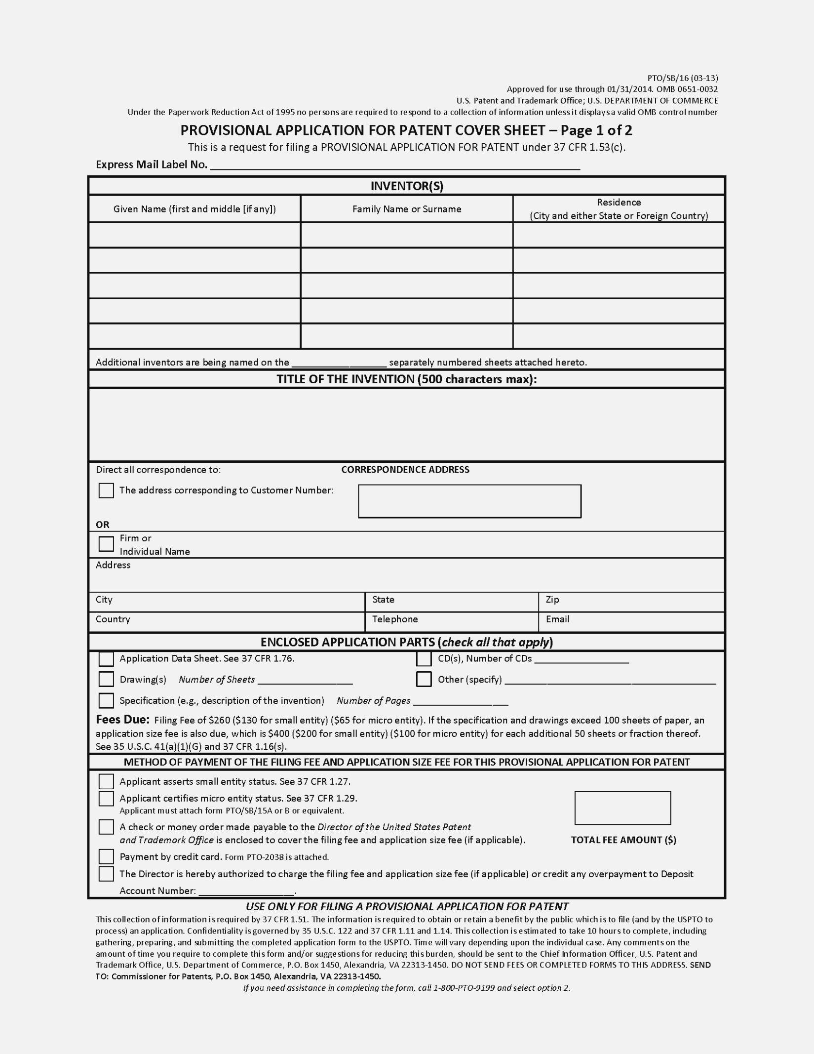 Patent Application Form Template