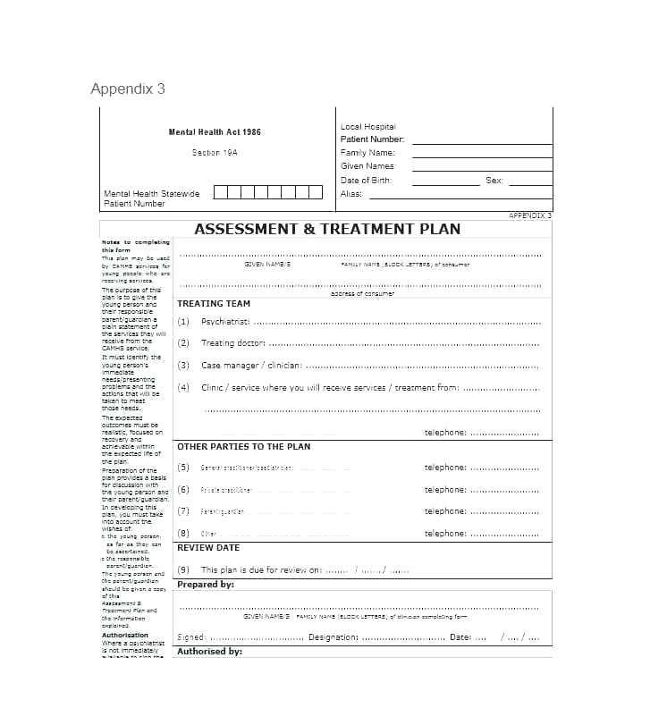 Patient Dental Treatment Plan Template