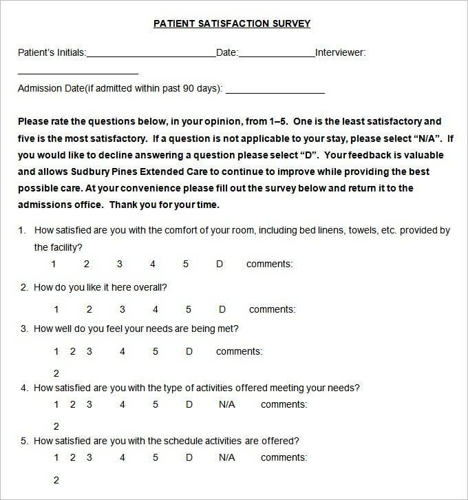 Patient Satisfaction Survey Form Pdf