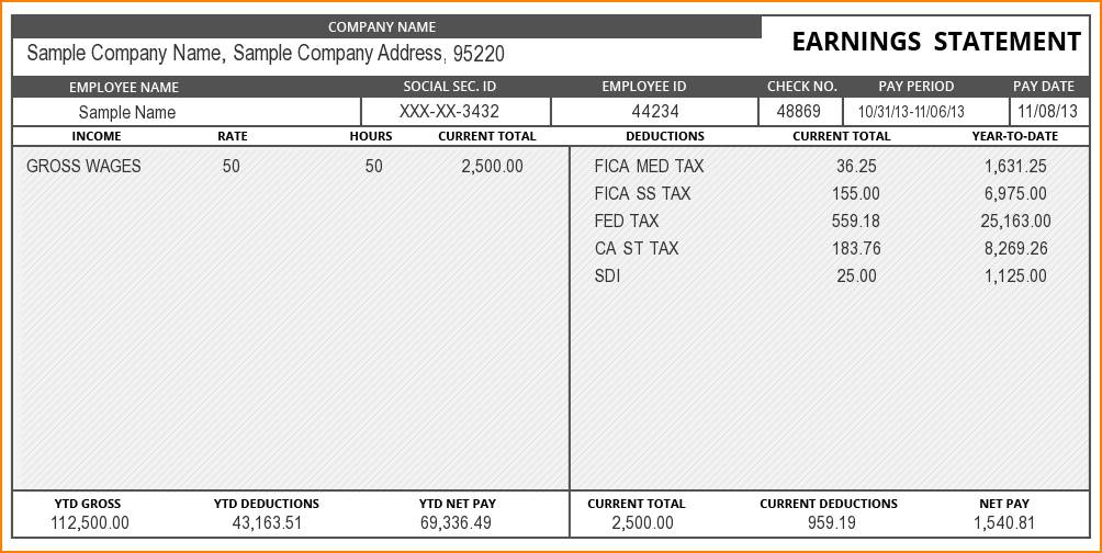 Pay Stub Template Download Free